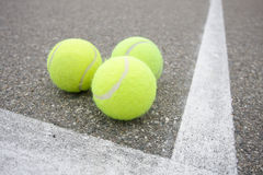 Tennis Balls on Line Royalty Free Stock Images