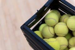 Tennis balls lying in the box Stock Image