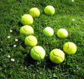 Tennis balls number six. Number six with tennis balls Royalty Free Stock Photo