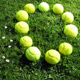 Tennis balls number zero. Number zero with tennis balls Royalty Free Stock Photo