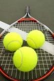 Tennis Balls and Racket Stock Photography
