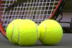 Tennis Balls and Racket Stock Photo