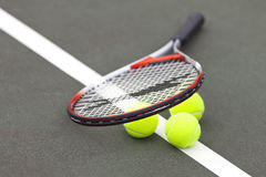 Tennis Balls and Racket Royalty Free Stock Photo