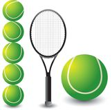 Tennis balls and a racket. Six tennis balls and one racket Stock Image