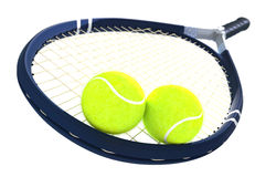 Tennis balls and racket on isolated Royalty Free Stock Images