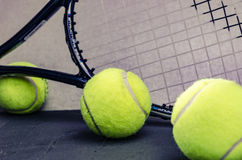 Tennis Balls with racket Stock Photo