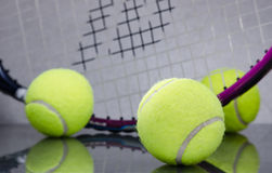 Tennis Balls with racket Stock Images