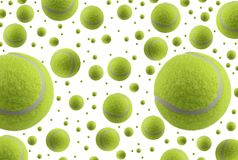 Tennis Balls Rain Isolated On White Background Stock Photography