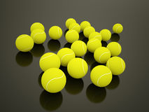 Tennis balls rendered on dark Stock Image