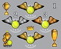 Tennis balls with wings cups and crown. Vector set of sport logo for any team. And championship royalty free illustration