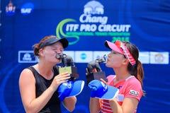 Tennis. BANGKOK, APRIL 4 : Chanel Simmonds and Miyabi Inoue in Chang ITF Pro Circuit International Tennis Federation 2015 at Rama Gardens Hotel on April 4, 2015 Royalty Free Stock Image
