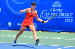 Tennis. BANGKOK, APRIL 4 : Chanel Simmonds of South Africa action in Chang ITF Pro Circuit International Tennis Federation 2015 at Rama Gardens Hotel on April 4 Royalty Free Stock Image