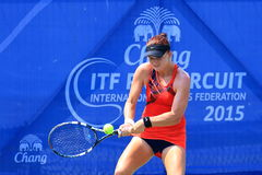 Tennis. BANGKOK, APRIL 4 : Chanel Simmonds of South Africa action in Chang ITF Pro Circuit International Tennis Federation 2015 at Rama Gardens Hotel on April 4 Stock Photo