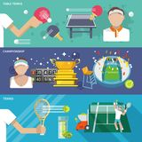 Tennis Banner Set. Table tennis ping pong championship banner set isolated vector illustration Stock Images