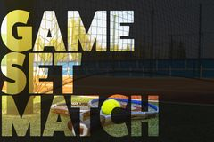 Tennis banner text concept design. text over the tennis rackets on the court stock images
