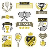 Tennis banners, ribbons and badges with icons Stock Photo
