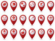 Tennis, Baseball, American football icons on map pointers Royalty Free Stock Images