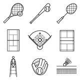 Tennis, Baseball & badminton line Illustration set Royalty Free Stock Photo