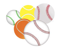 Tennis and baseballs Stock Images