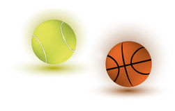 Tennis and basket ball Royalty Free Stock Photos