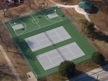 Public Park Tennis and Basketball Courts Aerial Stock Photography