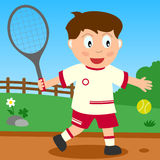 Tennis Boy in the Park. Kids and sport series: a boy playing tennis in a park. Eps file available Stock Image