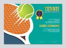 Tennis Certificate - Award Template with Colorful and Stylish Design stock illustration