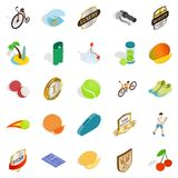 Tennis championship icons set, isometric style. Tennis championship icons set. Isometric set of 25 tennis championship vector icons for web isolated on white Stock Photos