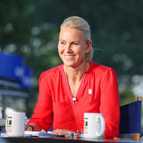 Tennis Channel commentator and former professional tennis player Rennae Stubbs during interview at US Open 2014 Stock Photos
