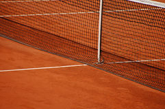 Tennis clay court with net. Tennis orange clay court with net Stock Images