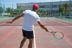 Tennis coach outdoors Stock Photography