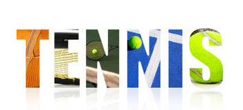 Tennis collage concept on white Royalty Free Stock Photo
