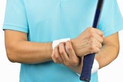 Tennis con dolore del polso immagini stock libere da diritti