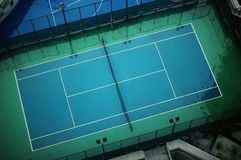 Tennis court. A commanding view of a tennis court Royalty Free Stock Photos