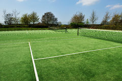 Tennis court. View on the tennis court, ready for the next game Royalty Free Stock Images