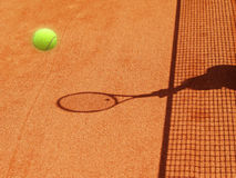 Tennis court (29). Tennis court net and racket shadow with ball, outside Stock Images