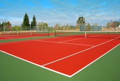 Tennis Court. A Trio of Tennis Courts Royalty Free Stock Photo