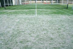 Tennis court. On roof of building Royalty Free Stock Photo
