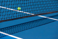 Tennis Court with Ball and Net. Tennis court with a ball and net closeup in Melbourne, Australia Stock Image
