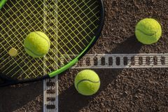 Tennis court and balls stock images