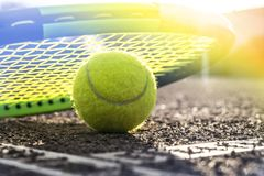 Tennis court and balls royalty free stock image