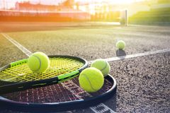 Tennis court and balls stock image