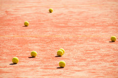 Tennis court  with balls Royalty Free Stock Photography