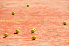 Tennis court  with balls Stock Photos