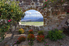 Tennis Court with beautiful mountain valley views at Hydro Majes Stock Image