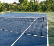 Tennis court with blue ground Royalty Free Stock Images