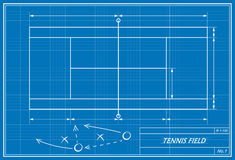 Tennis court on blueprint Stock Photo
