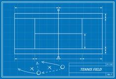 Tennis court on blueprint Stock Photo