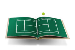 Tennis court book with tennis ball Royalty Free Stock Image