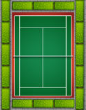 Tennis court with bushes around Royalty Free Stock Images